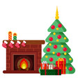 christmas set in cartoon style vector image