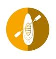 kayaking board oar recreation camping button vector image