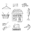 Shopping and retail sketch icons vector image
