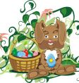 small bunny with basket vector image