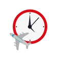 wall clock and airplane icon vector image