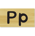 wooden letter P vector image vector image