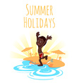 Cheerful African-American boy runs to the water on vector image
