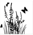 silhouettes of flowers and grass with vector image