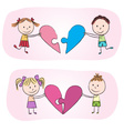 Kids with heart puzzle vector image