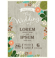 Vintage wedding invitation card floral background vector image