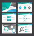 Blue green presentation templates Infographic set vector image