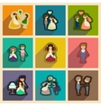 Set of flat web icons with long shadow bride and vector image