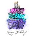 Greeting card with cake with boho pattern vector image