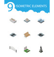 isometric city set of sculpture path barricade vector image