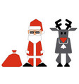 santa claus and nosed reindeer on white background vector image