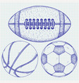 sports balls hand drawn sketch vector image