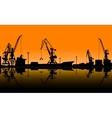 Working cranes unload cargo in seaport vector image