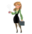businesswuman with cup and brief case vector image