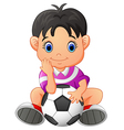cute boy holding a soccer ball vector image