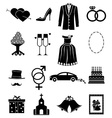 wedding icons set vector image