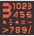 Font from reddish scotch tape - Arabic numerals vector image