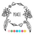 Vintage boho style coloring wreath vector image vector image