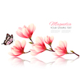 Beautiful pink magnolia background with butterfly vector image