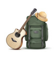 backpack with hat and guitar vector image