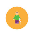 stylish icon in color circle man with crutch vector image