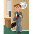 Businessman with business card in office vector image vector image