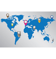 World map with location pointers vector image