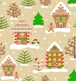 Seamless christmas pattern lovely xmas town vector image