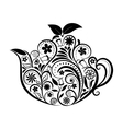 Floral Ornamental Teapot Over White vector image