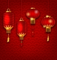 Chinese Background with Lanterns Seigaiha Texture vector image