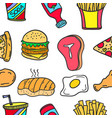 collection of food element doodles vector image