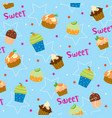 cupcake sweet cute cartoon gift wrapping design ve vector image