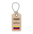 hang tag made in venezuela with flag icon isolated vector image