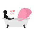 Love to brain Mind and man in bath Man and central vector image
