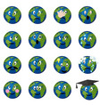 planet earth emoticons set vector image
