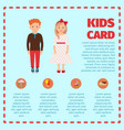 red hair kids card infographic vector image