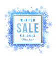 Sale square banner with blue watercolor snowflakes vector image