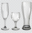 Set of transparent glass goblets vector image