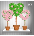 set of trees with roses and hearts in pots vector image