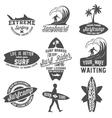 set of vintage surfing labels badges and emblems vector image