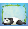 A sleeping panda and the empty frame made of vector image