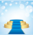 golden stage with blue carpet vector image