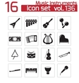 black music instruments icons set vector image vector image
