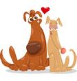 dogs in love cartoon vector image vector image