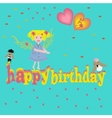 Modern flat birthday card with happy girl vector image