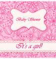 Baby-shower-with-flowers-girl vector image vector image