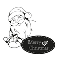 Christmas card with Santa Claus hands you a gift vector image