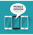collection smartphone mobile design bubble chat vector image
