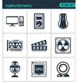 Set of modern icons Computer parts vector image