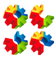 Colorful 3D Gear Icons vector image vector image
